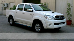 armoured Toyota Hilux.
